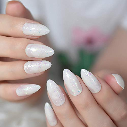 TJJF Rainbow Glitter Slice Pointu Stiletto Sharp False Nail Art Conseils Jade Blanc Ovale Faux Ongles Appuyez Sur Le Doigt Faux S