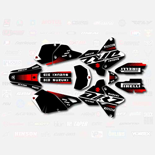 Black White Red Rise Racing Graphic Kit fits Suzuki Drz400 Drz 400 Drz400sm 400sm
