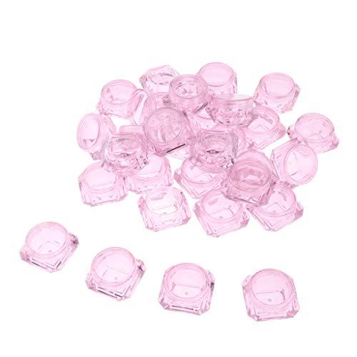 MagiDeal 30 Stück 3g Kunststoff Leerdose Tiegel mit Deckel, Leere Creme-Dose, Kosmetik Dosen für Aufbewahrung von Lidschatten, Lotion, Lippenbalsam usw. - Rosa