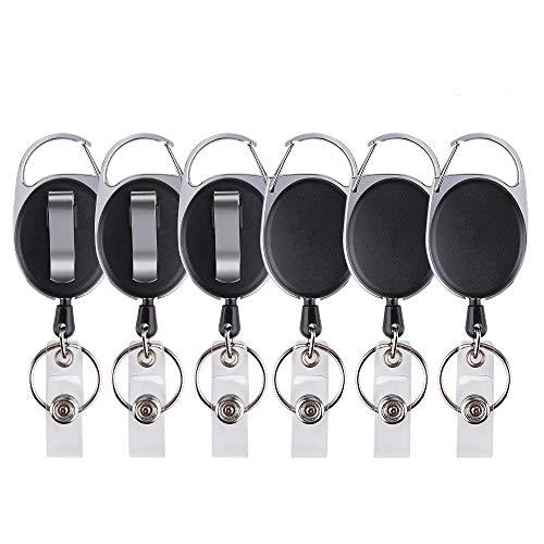 Ottemax, Marke mit Haltegurt und Clip, einziehbarer Halter mit Karabiner-Clip, Kartenhalter, Schlüsselring für Ausweis, Schlüssel, Ausweishalter und Gürtelclip-Befestigung, 6 Stück