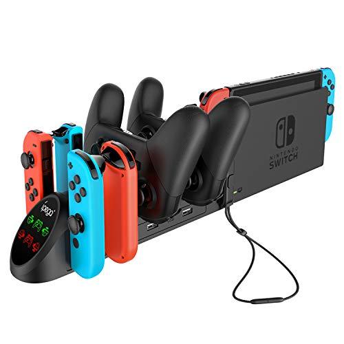 Chargeur Dock pour Nintendo Switch Manette Pro et JoyCons, Station de Chargement Bureau 6 en 1 pour Nintendo Switch Joy-Cons Controller avec Prise USB 2.0 et Ports USB 2.0