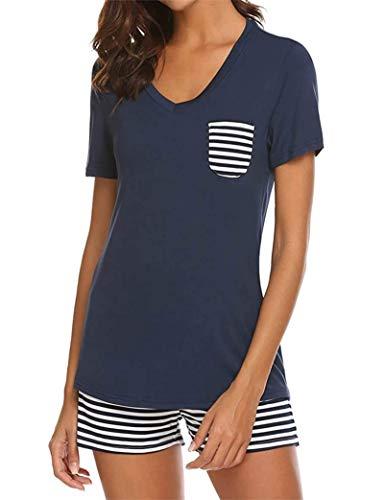 FELOVE Damen Schlafanzug Kurz Sommer Pyjama Nachtwäsche Nachthemd Hausanzug Set Kurzarm Rundhals-Ausschnitt Sleepshirt Zweiteiliger S-XXL