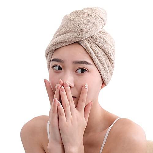 Smilsiny - 2 toallas para el pelo, para mujer, con tapón para el cabello seco, ducha, piscina, cabello seco, secado rápido, con botón (marrón)