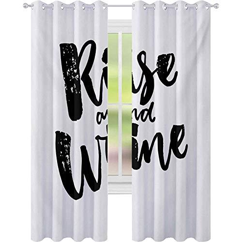 Cortinas de ventana con reducción de ruido, cepillo de vino y caligrafía, frase humorística, texto en inglés, para sala, color blanco y negro