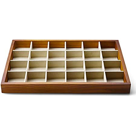 Oirlv 24 Grid Wood Jewelry Tray Microfiber Interior Jewelry Drawer Organizer Showcase Display Box Ring Earrings Holder Home Kitchen