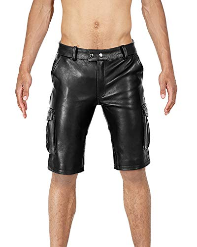 Bockle® BoB Cargo Shorts Leder Shorts Pants Kurze Lederhose, Size: W42/L34