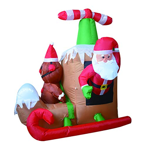 GOOSH 6Foot Long Christmas Inflatable Santa Claus Flying Airplane Blow Up Holiday Yard Decorations