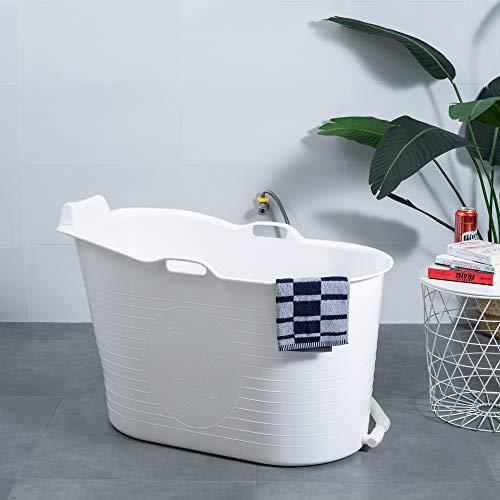 Schwänlein® Mobile Badewanne, Ideal für das kleines Badezimmer, 97x55x63cm, Nackenkissen Stylisch und Stimmungsvoll (Weiß)