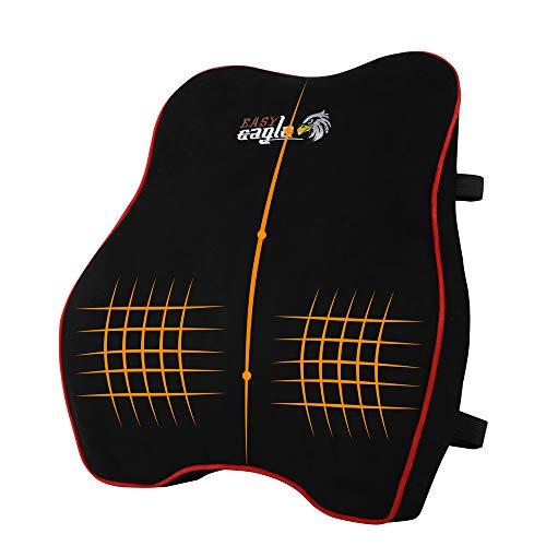 EASY EAGLE Lordosenstütze Auto aus Wildleder und Memory Schaum, Rücken-Kissen mit Verstellbaren Trägern Für Auto Büro Zuhause - Schwarz