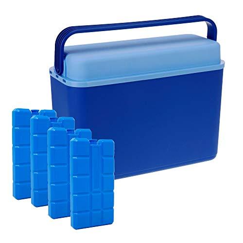 ToCi Kühlbox 12 Liter | kompakte und handliche Mini Kühl Box | Blau | 40x17x30cm (Kühlbox inkl. 4 x 200ml Kühlakku Kühlement)