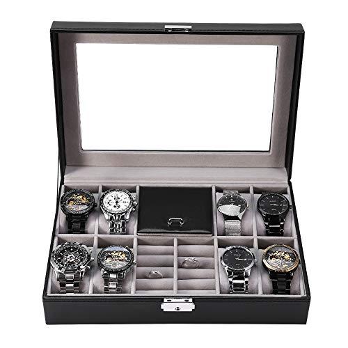 8+2 Caja para Relojes Anillo Estuche Joyero cuadrículas Caja para Almacenamiento Relojes Soporte Profesional Almacenamiento Organizador (8+2)