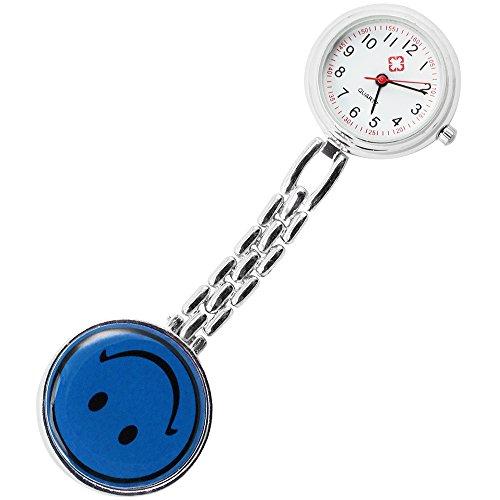 com-four® Ansteckuhr - Krankenschwesternuhr mit lachendem Gesicht, Pulsuhr (1 Stück/blau)