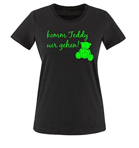 Comedy Shirts - komm Teddy wir gehen! - Damen T-Shirt - Schwarz/Neongrün Gr. 3XL
