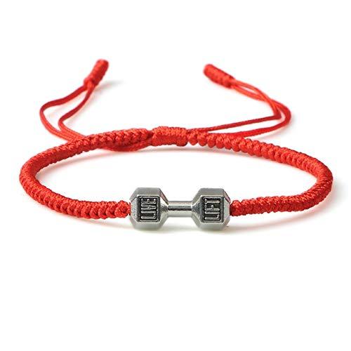 Pulsera de hilo rojo simple para mujeres, hombres, encanto ajustable, brazalete de nudo trenzado hecho a mano, joyería de yoga minimalista de la suerte, regalos para parejas - plata mancuernas rojo, C