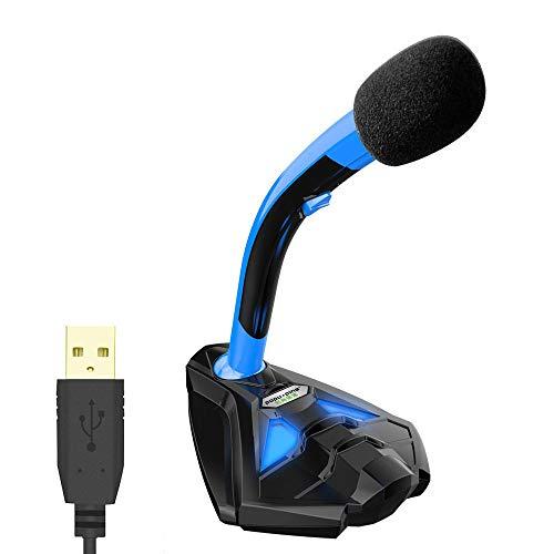 WanuigH microfoon voor voice desktop USB-microfoon voor PC laptop Mac en PS4 - High Definition audio voor het streamen van karaoke games Vocal Business Meeting Mic