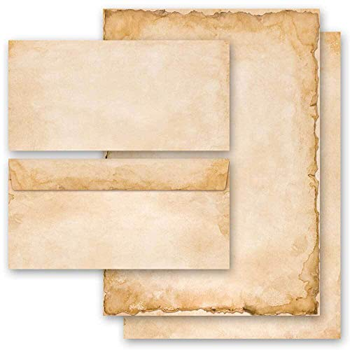 Briefpapier Set, 20 tlg. Antik & History, VINTAGE 10 Blatt Briefpapier + 10 passende Briefumschläge DIN LANG ohne Fenster | Paper-Media