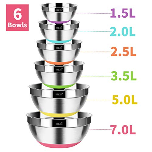 ROMEKER Küchenschüssel Edelstahl Rührschüssel 6-teilig Set,Salatschüssel Set für die Küche,Servierschüssel mit antihaftbeschichteten Silikonböden Skala von 1,5L, 2L, 2,5L, 3,5L, 5L, 7L,stapelbar
