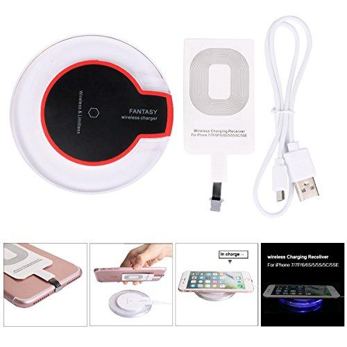 Freebily 4 Pcs Chargeur sans Fil iPhone X 8 7 6 6s Plus / 5 / 5s / 5C / Se,Chargeur à Induction Samsung Galaxy S6 Edge + et Autre Appareils Compatible Qi Noir USB iPhone