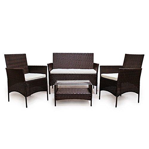 POLY RATTAN Lounge Gartenset Dunkelbraun Sofa Garnitur Polyrattan Gartenmöbel - 3