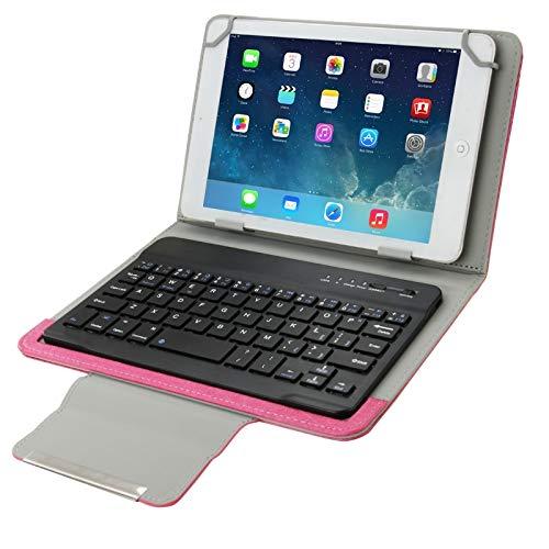 Accesorios Tablet UniversalFunda de Cuero con Teclado Desmontable Bluetooth y Soporte para Tablet PC de 7 Pulgadas (Color : Magenta)