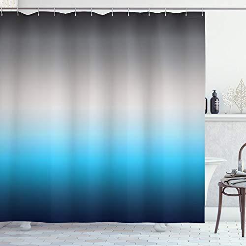 ABAKUHAUS Duschvorhang, Farbe übergangs Muster Minimalistisch Stilvoll Türkis Pazifikblau Grau Schwarzdunkel Blau Druck, Blickdicht aus Stoff mit 12 Ringen Waschbar Langhaltig Hochwertig, 175 X 200 cm