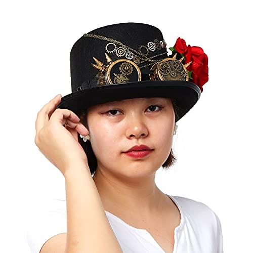 BLESSUME Sombrero Steampunk Gótico Chistera con Gafas Unisex (Colore D, L)