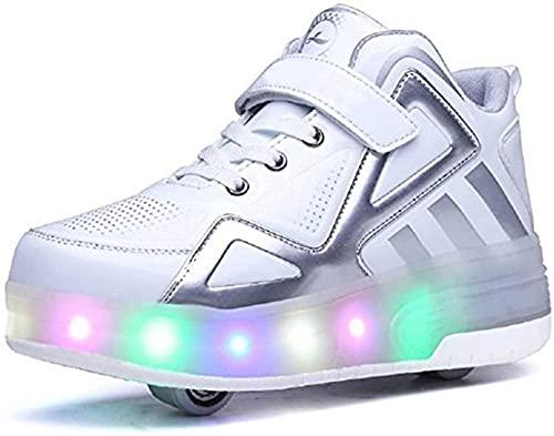 CCHAYE LED Roller Skate Schuhe mit Doppelrädern Automatische einziehbare technische Skateboarding-Schuh Inline-Radschuhe Kreuz-Trainer blinken Laufgymnastik-Turnschuhe-EIN_38. Improve