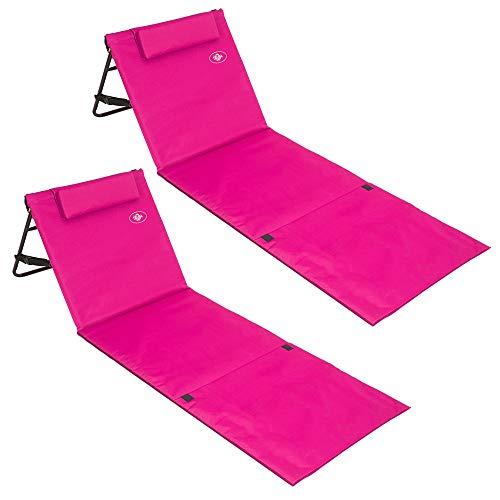 Deuba 2X Strandmatte Faltbar Gepolstert Kissen verstellbare Rückenlehne Staufach Badematte Isomatte Strandtuch Pink