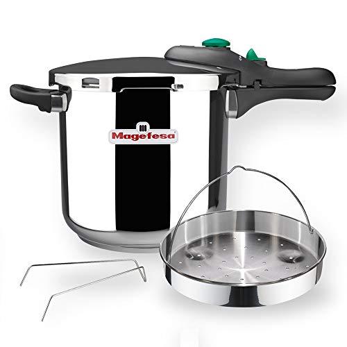 MAGEFESA DYNAMIC Olla a presión super rápida de fácil uso, acero inoxidable 18/10, apta para todo tipo de cocinas, incluido inducción. Pack exclusivo Olla+Cestillo. (5 LITROS)