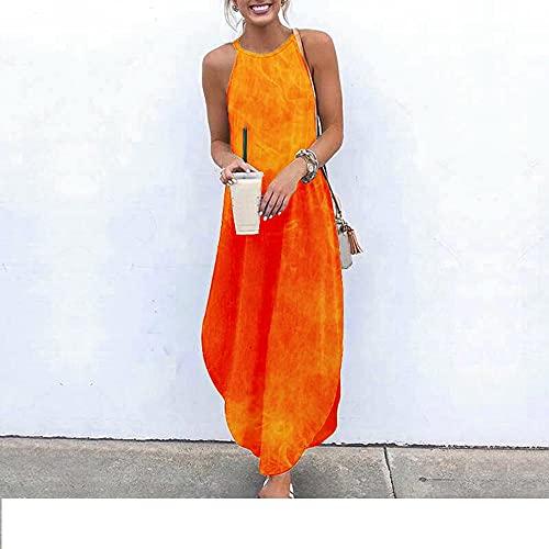 Damen Boho Lange Kleider, Frauen Orange Flamme 3D-Druck Sexy Sling Backless Oval Saum Geschlitzt Plus Größe Maxikleid Swing Rock Sommer Party Alltagskittel Strand Lange Kleider,3XL