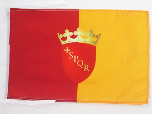 AZ FLAG Flagge ROM MIT Waffen 45x30cm mit Kordel - Roma Fahne 30 x 45 cm - flaggen Top Qualität