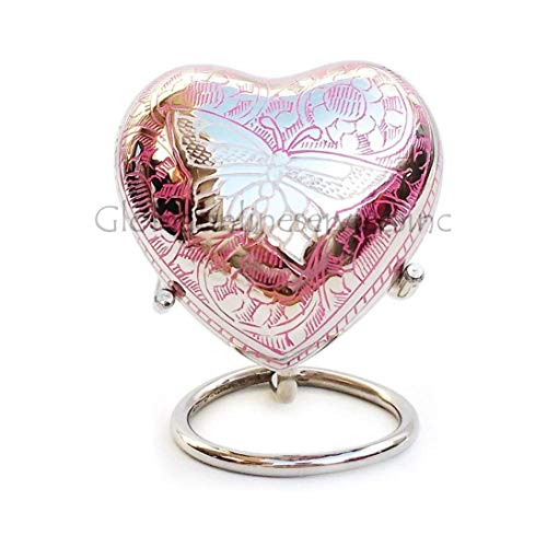 Pink Heart Keepsake Urns Ashes, Small Memorial Urns with Stand & Velvet Box