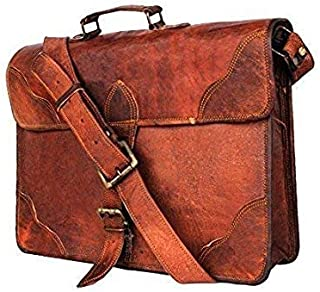 Tuzech 15 Inch Leather Vintage Crossbody Messenger Courier Satchel Bag Gift Men Women ~ Business Work Briefcase Carry Laptop Computer Book Handmade Rugged & Distressed ~ Everyday Office College School