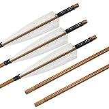 SHARROW 6 Piezas Tiro con Arco Flechas de Bambú con 5' Plumas de Pavo Fletching para Arco Recurvo Arco Largo Tradicional (Tipo 4)