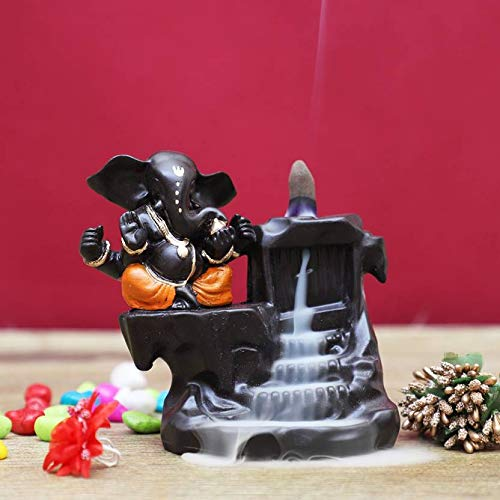 Craftam Polyresin Big Size Ganesha, Ganpati Deva Smoke Backflow Fountain Incense Holder with 10 Backflow Incense Cones (Big Size :10X8X12.5 cm, Orange)