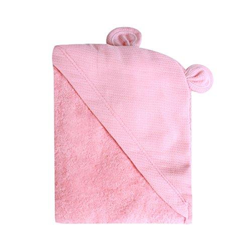 Minene–niños bebé baño toalla delantal con capucha con orejas de oso, 70x 70cm, color rosa
