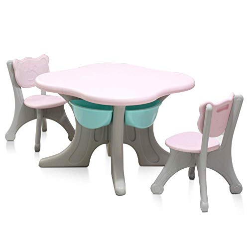 Living Equipment Children Desk and Chair Set Activity Table Child Table and Chair for Toddler Play Table/Baby Activity Table for Your Kids Study Table Desk Kids (Color : Green Size : 70x70/50x32cm)