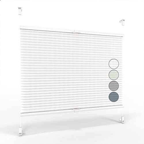 ALOHA Plissee ohne Bohren Klemmfix Faltrollo Plisseerollo Blickdicht Sonnenschutz Jalousie für Fenster & Tür (Weiß / 70x210cm / Breite x Höhe)