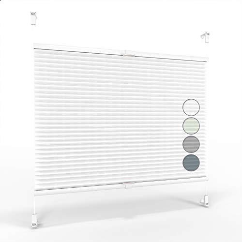 ALOHA Plissee ohne Bohren Klemmfix Faltrollo Plisseerollo Blickdicht Sonnenschutz Jalousie für Fenster & Tür (Weiß / 120x130cm / Breite x Höhe)