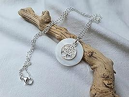 Baum des Lebens Kette*925er Silber Kette mit Perlmutt Silber Anhänger*Meeres Schmuck*Natur Schmuck*Boho Kette