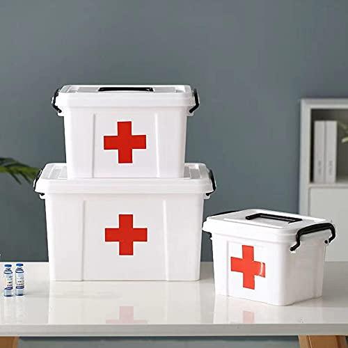 YGWALL Organizador Caja de medicamentos Caja de Almacenamiento Familiar Kit de Emergencia, Contenedor de Almacenamiento de plástico con Tapa con Cierre y asa para la Oficina en casa