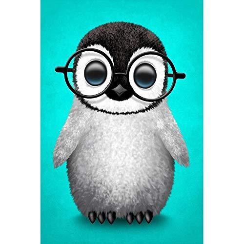 Bhgvtz Gafas pingüino Pintura al óleo para Adultos y niños. Pintura Digital Diviértete con la Pintura Digital Sin Marco 40x50cm