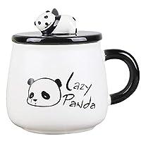 Cute Animal 3D Ceramic Mug,Cute Animal, huggingpandawithlove, Stoneware Coffee MugWithLovely 3D PandaLid And StainlessSpoon,14 oz