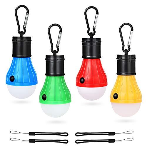 Camping Lanterne, MOMKEY Campinglampe LED mit Karabiner 4 Riemen, Tragbare Zeltlampe Glühbirne Set Camping Lampen wasserdicht, 60 Lumen, für Abenteuer, Angeln, Garage, Notfall, Stromausfall, 4 Stück