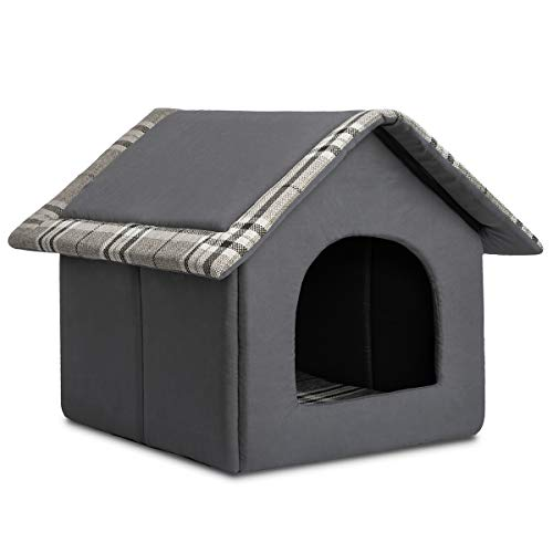 Hollypet Cozy Pet Bed Warm Cave Nest Sleeping Bed Puppy House for Cats and Small Dogs, Gray
