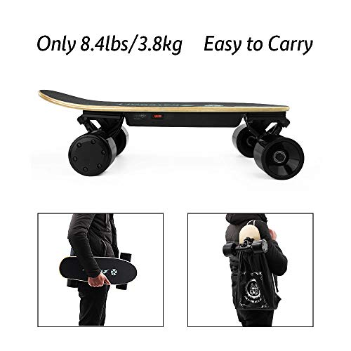 SKATEBOLT Electric Skateboard Mini Fashion Gift S5 Motorized Skateboard with Remote Control, 70 mm Hub Motor Powered, 7.9 lb NW, 25.2 V Lithium Battery,250 W HUB Motor