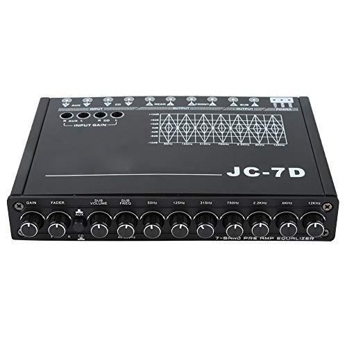 EBTOOLS Ecualizador de Audio del Coche,Coche 7 Bandas Restauración de Bajo de Audio Ecualizador Digital Control de Audio JC-7D