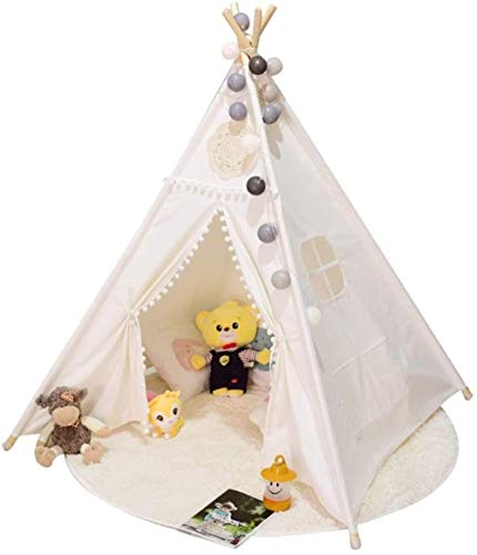Woodtree Children's Tent Children Playhouse Kids Play Tent For Indoor Or Indian Teepee Play Tents (Color : White, Size : ONE SIZE),Size:One Size,Colour:White (Color : White, Size : One Size)