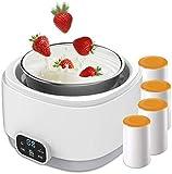 WENJZJ Máquina automática del Fabricante de Yogurt Pantalla con Control de Temperatura Constante Vidrio Griego Griego y Tapas de Acero diseño