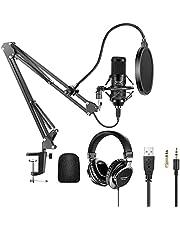 Neewer USB Microfoon Kit 192KHz/24Bit Plug & Play Hypercardioid Condensator Mic met Monitor Hoofdtelefoon, Foam Cap, Arm Stand en Shock Mount voor Karaoke/YouTube/Gaming Record/Podcasts/Zingen etc